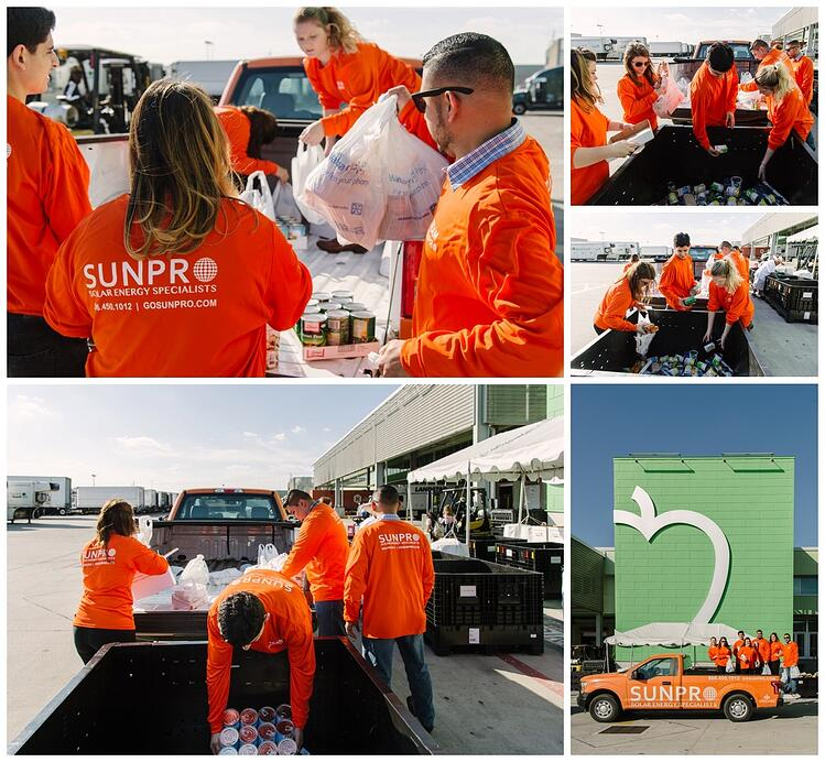 Collage of Sunpro employees donating to Houston Food Bank